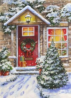 Christmas Scenes, Noel Christmas, Very Merry Christmas, Winter Christmas, Christmas Windows, Coming Home For Christmas, Illustration Noel, Christmas Illustration, Illustrations