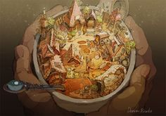 gallery ギャラリー(出水ぽすか) of New Site 1 Fantasy World, Fantasy Art, Environment Concept Art, Food Drawing, Fantasy Landscape, Ghibli, Artist At Work, Food Art, Art Reference