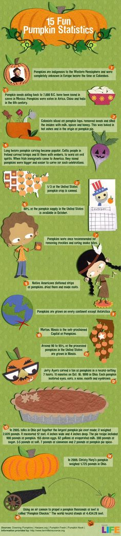 Nothing says Fall like pumpkins! Did you know that 80% of the pumpkin supply in the United States is available in October? Take a look at 15 fun facts about Fall's mascot: Pumpkins | Fall Season