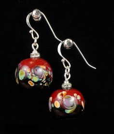 Lampwork Earrings Glass Red and Black Round Earrings by IraShop