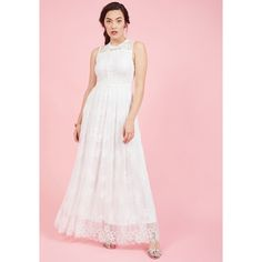 Effortlessly Special Maxi Dress (185 CAD) ❤ liked on Polyvore featuring dresses, gowns, apparel, white, beachy dresses, pink lace dress, pink evening gowns, beach dresses and maxi dress