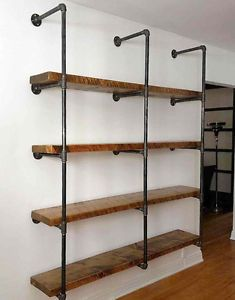 Étagères rustique-industriel – Rustic-industrial shelving units - My Favorite Industrial Shelving Units, Wood Shelves, Rustic Shelving Unit, Plumbing Pipe Shelves, Diy Home Bar, Bars For Home, Wood Stain Colors, Trendy Home, Basement Remodeling