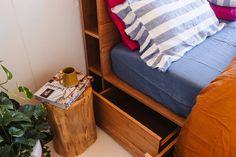 Al and Imo Custom Timber Furniture Tall Bookshelves, Custom Bookshelves, Bed Headboard Storage, Headboards For Beds, Timber Furniture, Pallet Furniture, Furniture Ideas, Bookshelf Headboard, Blue Glass Tile