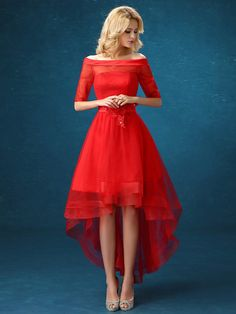 Chicmall.com deliveriesCocktail All Sizes Off-the-Shoulder Appliques A-line Red Pleats Half Sleeves Dress Long Evening Dresses