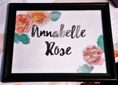 Personalized Baby Shower Gift - Original hand-painted watercolor name with flowers by Violet Knight Designs.