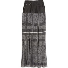 Preen Ash pleated silk-organza and denim maxi skirt ($898) found on Polyvore