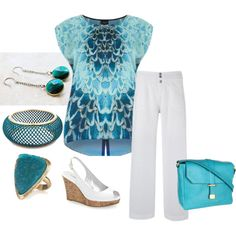 Teal Peacock with White - Plus Size by intcon on Polyvore