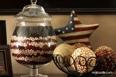 of July/Memorial Day/Veteran's Day decor idea with apothecary jars. Red Kidney beans, Northern Beans and Black beans. 4. Juli Party, 4th Of July Party, Fourth Of July, Patriotic Crafts, July Crafts, Patriotic Party, Patriotic Room, Americana Crafts, Holiday Fun