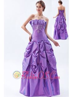Purple A-line / Princess Strapless Prom Dress Taffeta Embroidery Floor-length- $145.46  www.fashionos.com  When it comes to luxurious style, you can`t go wrong with this strapless gown! Dreamy pickups abound on its flared, floor-length skirt, which is also bursting with chic ombre coloring. Matching coloring makes for a coordinated look on the finely textured, interwoven bodice.A few plexus leaflike fold is a big characteristic of the skirt.