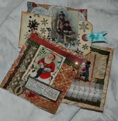 Christmas card toppers and tags by Zuzu for the Calico Crafts design team using Kaisercraft papers.