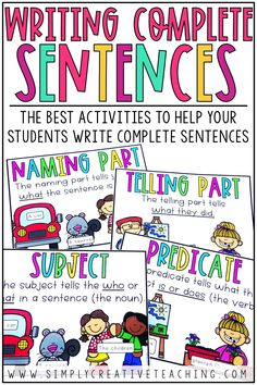 Teach students how to write complete sentences with these writing activities. Students will learn how to write complete, detailed, descriptive sentences. 2nd Grade Writing, Teaching First Grade, Teaching Writing, Writing Activities, Teaching Themes, Writing Ideas, How To Teach Writing, Teaching Vocabulary, Kindergarten Writing