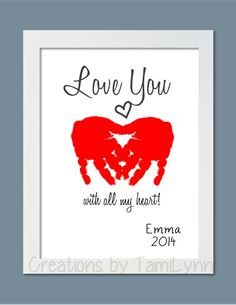 Heart Love You Baby Handprint Art - Personalized Baby Nursery, Child's Room, Parent, Grandparent Gift