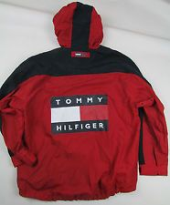 90'S VINTAGE TOMMY HILFIGER SIZE L NET LINED HOODED LOGO SAILING JACKET