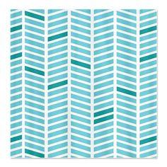 Geo Zig Blue Shower Curtain