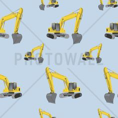 Excavators Blue - Tapetit / tapetti - Photowall