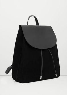 Lapel leather backpack -  Women | MANGO USA