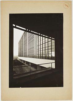 Bauhaus Dessau, Werkstattgebäude Hofseite, 1926, photo Lucia Moholy