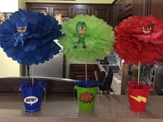 PJ masks table decorations PJ masks Birthday Party Pj Masks Birthday Cake, Birthday Party Tables, Superhero Birthday Party, 4th Birthday Parties, Pj Masks Pinata, Festa Pj Masks, Pj Masks Cakes, Pj Mask Party Decorations, Party Themes