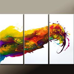 ABSTRACT Art Painting - Huge 3pc Original Modern Contemporary Fine Art Painting by Destiny Womack - dWo - 54x36 - Waves of Emotion on Wanelo