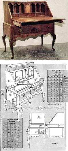 Secretary Desk Plans - Furniture Plans and Projects - Woodwork, Woodworking, Woodworking Plans, Woodworking Projects Easy Wood Projects, Furniture Projects, Wood Furniture, Woodworking Furniture Plans, Woodworking Projects Diy, Teds Woodworking, Desk Plans, Wood Plans, Coffee Table Plans