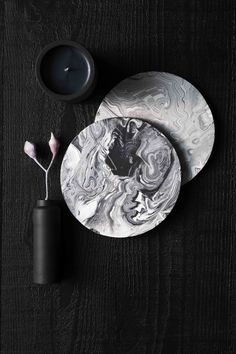 Zakkia SS 2015 - handmade concrete ink trivets in black and grey, black bottle vase and black soy wax candle