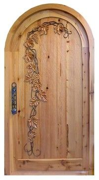 """""""Wine Cellar Doors hand crafted to your specifications. Made in America for over nine decades. Craftsman Front Doors, Wood Entry Doors, Wooden Door Design, Faux Painting, Room Doors, Oui Oui, Custom Furniture, Carving, Beautiful"""