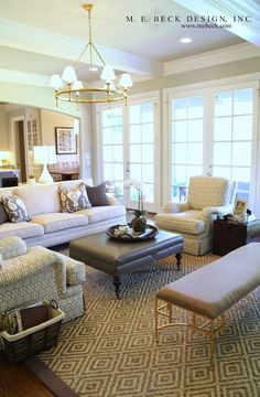 Live Beautifully: Dallas Project | The Family Room Love this family room with doors to outside