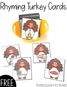Fun Rhyming Turkey Cards A Great Way To Practice This Pre-Reading Skill These Adorable Cards Are A Playful Way To Work On Rhyming Skills With Your Little Turkeys This Thanksgiving. Simply Print And Play Thanksgiving Preschool, Fall Preschool, Preschool Literacy, November Preschool Themes, Preschool Plans, Thanksgiving Prayer, Preschool Songs, Thanksgiving Appetizers, Thanksgiving Outfit