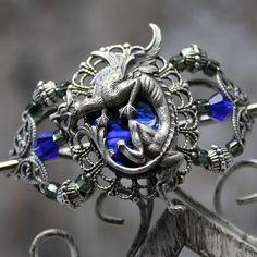 Dragon Charmer  Silver and Cobalt Blue Medieval Hair by auralynne, $36.00