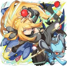 Cynthia with her Garchomp and her Riolu ^.^ ♡ I give good credit to whoever made this