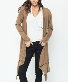 Another great find on #zulily! Mocha Pleat-Back Long Open Cardigan #zulilyfinds