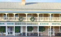 """SA - Goolwa - Corio Hotel - The Corio Hotel located in Railway Terrace Goolwa, has been an integral feature of the landscape of Goolwa since its construction in 1858. Named after the paddle steamer """"SS Corio"""", which sank in 1857 on the Murray River, the National Trust listed hotel has traded continuously. Murray River, Sink In, National Trust, Steamer, Paddle, Terrace, Ss, Hotels, Construction"""