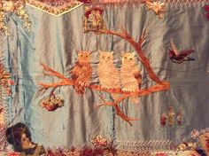 I ❤ crazy quilting & embroidery . . . Elizabeth Parkhurst Williams Crazy Quilt (1884-90) Center- A very rare BEAUTY. I love the overall pastel impression & softness of most tones. Although there are many vibrant jewel tones as well. All the loving artistic needlework embroidery of Mary Beatrice. Special dates, initials, musical notes on a scale, blessings symbols, cupid's hearts, roses, tulips, sunbursts, ferns & so many other interesting floral & geometric stitches.