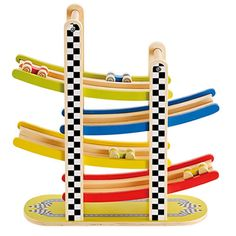 Hape Switchback Racetrack Kid's Wooden Car Racing Toy - Toys 4 My Kids Hape Toys, Early Explorers, Wooden Car, Wood Toys, Fine Motor Skills, Cloth Diapers, Innovation Design, Kids Playing, Race Cars
