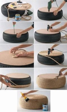 Tire Puff: Models and step by step - # for . - Tire Puff: Models and Step by Step – - Diy Furniture Table, Diy Garden Furniture, Furniture Ideas, Furniture Makeover, Cool Diy, Tire Ottoman, Tile Cutter, Room Additions, Home Design