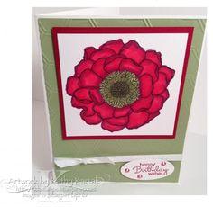 Stamps: Blended Bloom, Petite Pairs Paper: Whisper White, Old Olive, Cherry Cobbler, Whisper White Paper Size: A2 Ink: Memento Tuxedo Bla...