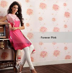 Forever pink. Monsoon Collection 2012  Copyright © W For Woman. All rights reserved.  #w #woman #fashion #style #kurta #india #clothing #outfit #wear #pink #white #bottom #forever #floral