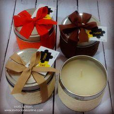 Velas aromaticas enlatadas, detalles para invitadas, bodas, casaments