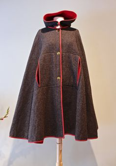 Rare 1960s Bonnie Cashin Wool Cape with Hood ~ Vintage 60s Bonnie Cashin Hooded Cape Gray with Magenta Lining by xtabayvintage on Etsy