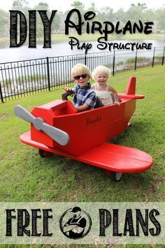 DIY Airplane Play Structure Please! SHARE Thanks! Dare to Dream and Soar Like an Eagle: The Sky s the Limit with this awesome airplane play structure with these FREE plans! The kids will love it! Kids Woodworking Projects, Wood Projects For Kids, Woodworking Jigs, Intarsia Woodworking, Woodworking Workshop, Popular Woodworking, Woodworking Furniture, Custom Woodworking, Outdoor Projects