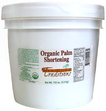 Organic Fair Trade Palm Shortening from Tropical Traditions. Stop using veg shortening full of poisonous trans fats and try this instead. Wonderful for baking and frying. I made the best pie crust and biscuits with it. Watch for sales because they often have really good ones and you can save a lot of $$!
