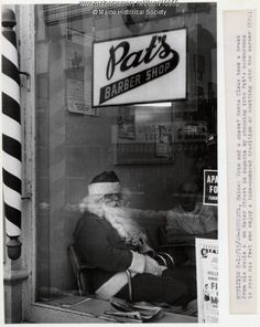Santa relaxing at Pat's Barber Shop, Augusta, Even Santa needs some help keeping his beard trimmed. Item # 10950 on Maine Memory Network Album Design, Shaved Hair Cuts, Beard Trimming, Historical Society, Barber Shop, Maine, Memes, Santa, Men Hair