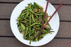 Grilled Asian Green Beans - Gluten-free + Vegan sesame oil, honey, garlic, ginger, red pepper flakes