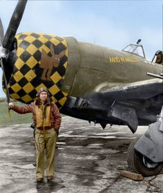 "Newhart ""Mud N' Mules"" Republic Thunderbolt LH-D s/n Fighter Squadron, Fighter Group, Air Force Capt. Newhart was killed in action on the of June 1944 during a mission over Northern France. (Colourised by Doug Banks) Ww2 Aircraft, Fighter Aircraft, Military Aircraft, Aircraft Carrier, Nose Art, Luftwaffe, Image Avion, Photo Avion, P 47 Thunderbolt"