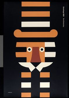 Beautiful graphic poster design by English poster designer and artist Tom Eckersley Art And Illustration, Illustration Design Graphique, Art Graphique, Illustrations Posters, Modern Graphic Design, Graphic Art, Graphic Designers, Fashion Designers, Tiger Poster