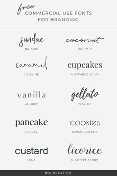 10 Free Commercial Use Fonts For Branding Inspiration Typographie, Logo Inspiration, Schriften Download, Police Avec Serif, Brand Fonts, Logo Fonts Free, Best Fonts For Logos, Free Handwriting Fonts, Handwriting Fonts