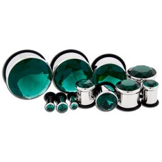 Blue Zircon Gem Pressed Set Single Flare Plugs By Metal Mafia. Body Jewellery