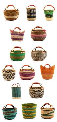Ghana Bolga Baskets- I actually found one last week at a yard sale for 1.00.  I just knew I like it.  It's different from other baskets