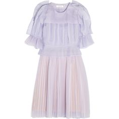 Chloé Pleated silk-blend organza dress (€1.005) ❤ liked on Polyvore featuring dresses, chloe, robe, lilac, pink dress, overlay dress, loose dress, organza cocktail dress and chloe dress