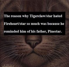 The reason why #Tigerstar hated #Firestar so much was because he reminded him of his father, #Pinestar.